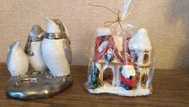 Новогодние подарки - керамические домик и пингвины.