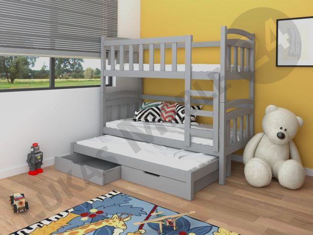 Łóżko piętrowe DAMIAN dla 3 osób w super cenie. Materace GRATIS