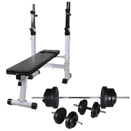 vidaXL Banco musculação c/ suporte p/ pesos + barras e halteres 60,5kg 275361