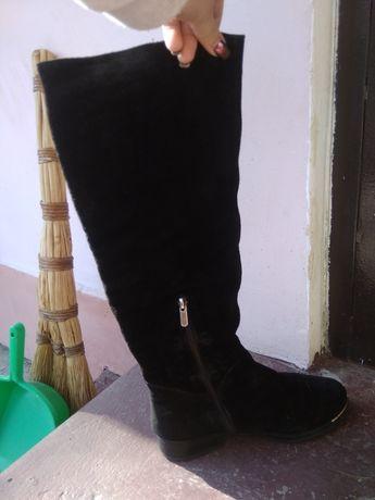 Кожаные замшевые сапоги!!!