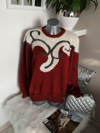 sweter C&A rudy ecru zloto perełki L 40 42 44
