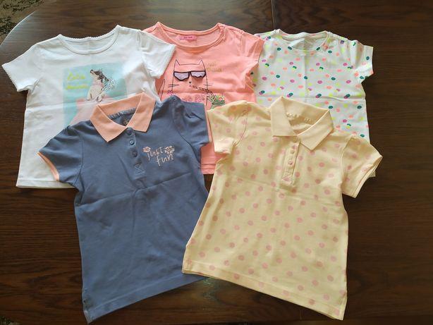 Zestaw NOWYCH koszulek z krótkim rękawem dla dziewczynki 98/104