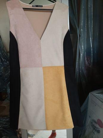 Sukienka z imitacji zamszu ZARA L