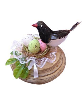 Интерьерный декор птица в гнезде на деревянной подставке, ручная работ