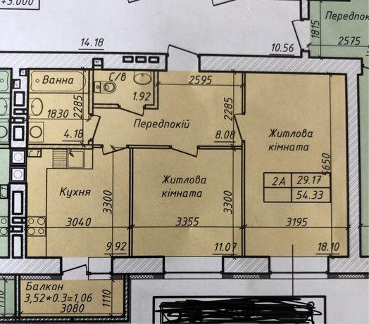 2-х квартира 54,5мкв. Владелец.