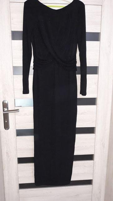 Sukienka czarna błyszcząca Długa