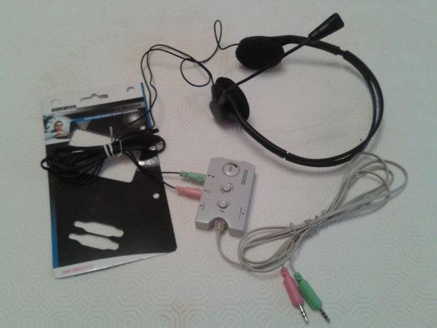 Auscultador, microfone, comutador KONIG para PC, MAIS OF.FILME