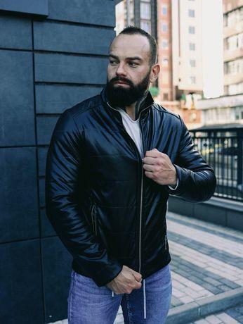 ХИТ ОСЕНИ Стеганная кожаная мужская куртка,кожанка хорошее качество