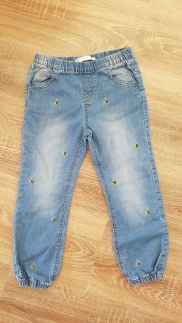 jeansy spodnie z  haftowanymi pszczołami 4-5 lat