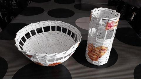 koszyczek koszyk koszyki wazon z papieru kwiaty owoce białe komplet