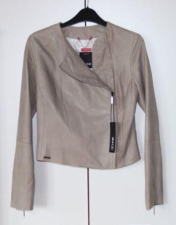 OCHNIK skórzana beżowa kurtka damska S 36 skóra naturalna