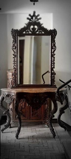 Consola/ aparador com espelho em madeira maciça Castanho