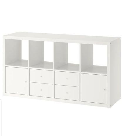 Rezerwacja - Nowy biały regał Ikea Kallax, czarne pudełka DRÖNA