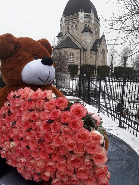 Доставка квітів 101 троянда троянди квіти плюшевий мишка 101 роза рози