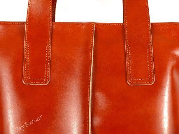 Skórzana torba Vera Pelle camel skóra licowa duża