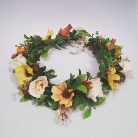 Wianek na głowę ze sztucznych kwiatów, regulowany, ślub,sesja,panieńsk
