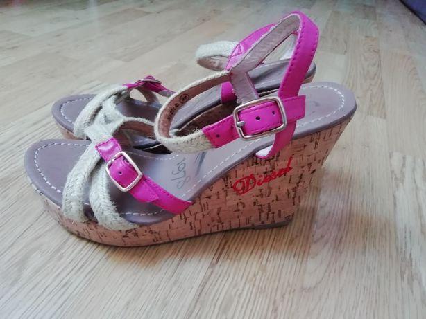 Sandálias Diesel rosa choque de cunha