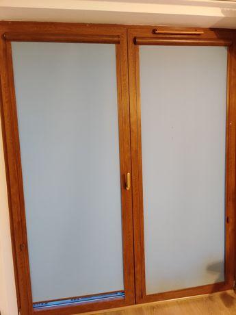 2x rolety balkonowe okienne żaluzje złoty dąb SZARE 219cm KOMPLET