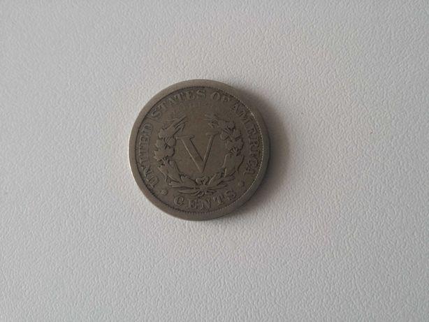 Numismática moeda América nickel cinco cêntimos five cents 1891