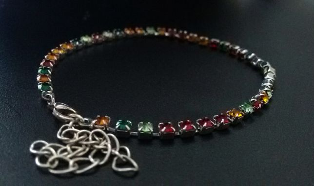 Tęczowa kolorowa srebrna bransoletka cyrkonie