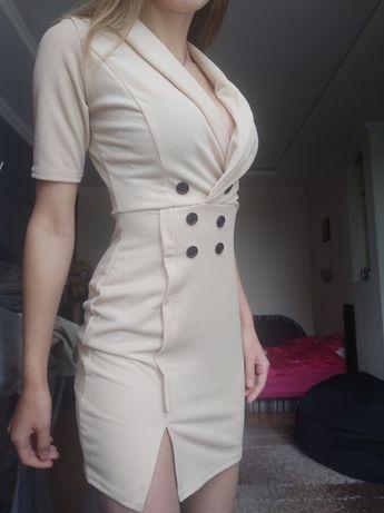Платье boohoo, S, базовое бежевое классическое офисное летнее.Сарафан.
