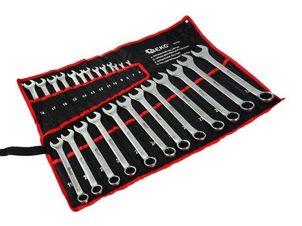 Komplet kluczy płasko-oczkowych w pokrowcu 6-32 Geko zestaw na prezent