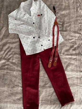 Komplet koszula spodnie bordowe szelki