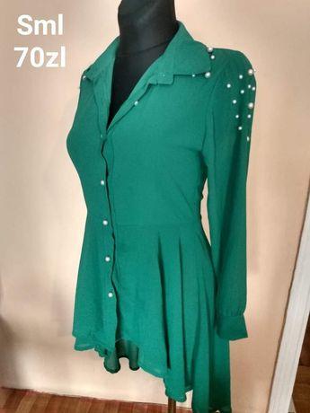 Koszula asymetryczna butelkowa zielen perełki