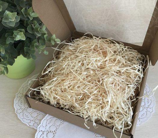 Декоративная древесная стружка наполнитель для упаковки подарков -200г