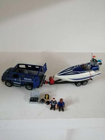 Conjunto Carro/Barco Polícia da Playmobyl