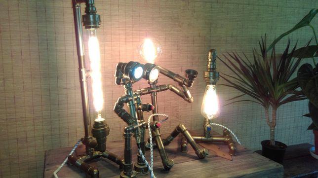 Светильники ручной работы из труб,дерева, бетона в стиле лофт,стимпанк