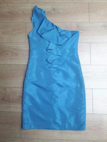 Sukienka niebieska na wesele, ślub, studniówkę firmy DanHen