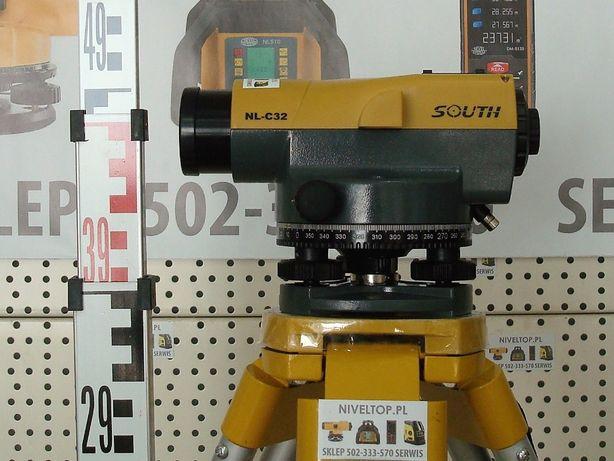 ZESTAW Niwelator optyczny South NL-C32 Statyw Łata - Nowy FV Gwar5lat