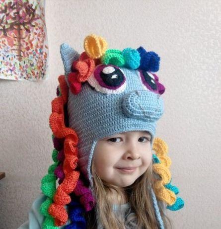 Великолепная шапка my little pony радуга в наличии 3-6 лет