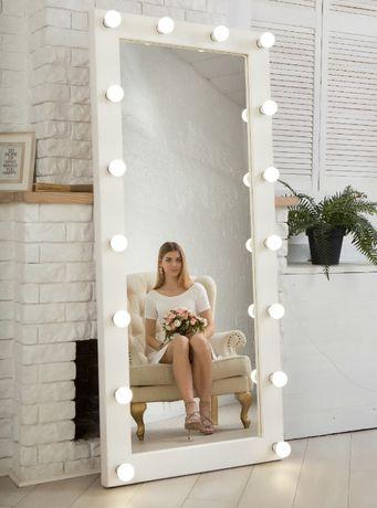 Зеркало с подсветкой в раме из натурального дерева 180-80 см-2580 грн!