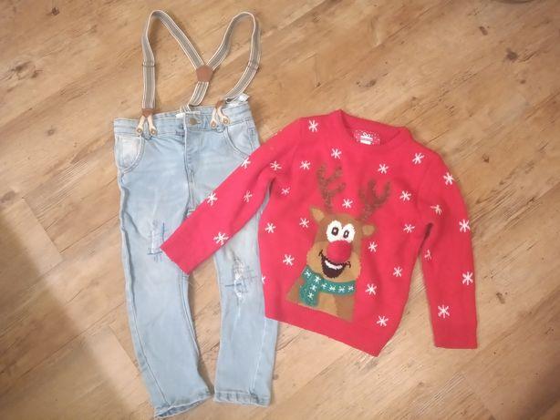 spodnie jeansowe + sweter z reniferem