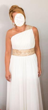 Suknia ślubna 'greczynka' ecru, złota, ręcznie haftowana na zamówienie