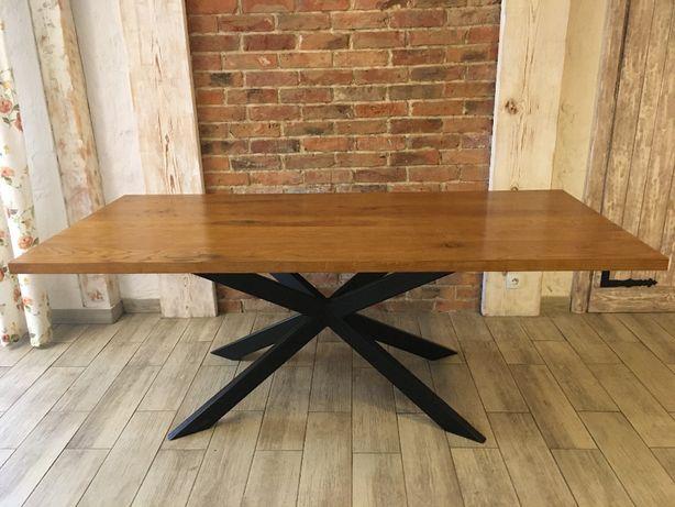 Stół dębowy loft industrial nowoczesny lity dąb 200x95