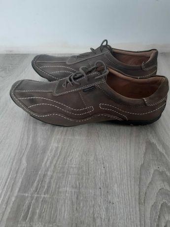 Buty męskie szaro-brązowe skórzane
