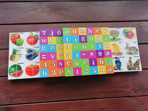 Układanki litery, zwierzęta, owoce.