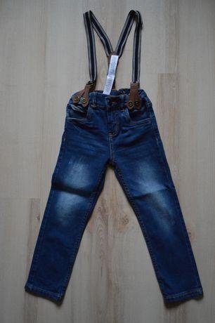 jeansy na szelkach, LUPILU, rozmiar 104