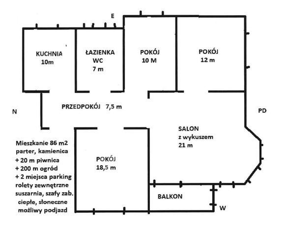 Mieszkanie w Chełmży, parter 86,5 m, 4 pokoje, balkon parking piwnica