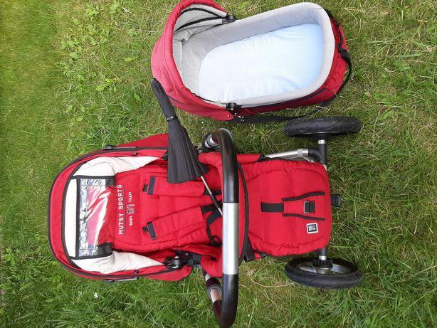 Czerwony wózek Mutsy Sports 4Rider (gondola + spacerówka + akcesoria)