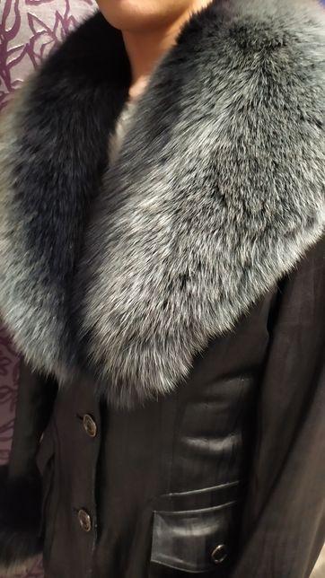 Куртка кожаная воротник песец