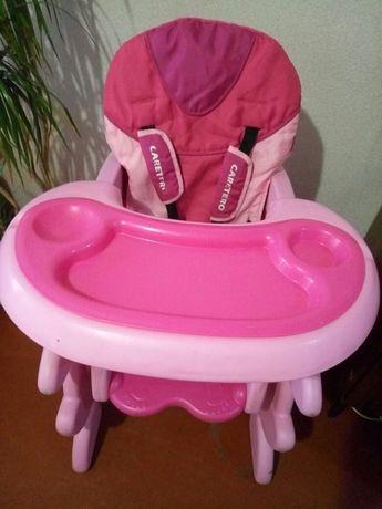 Стульчик для кормления, трансформер Caretero, розовый.