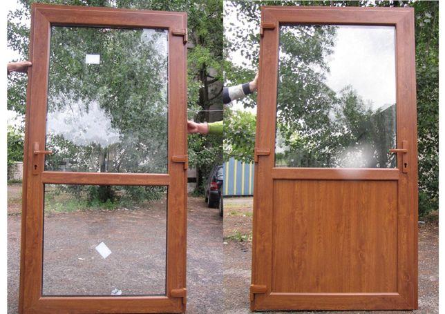 Drzwi PCV wejściowe zewnętrzne o rozmiarze 90x210 w kolorze Złoty Dąb
