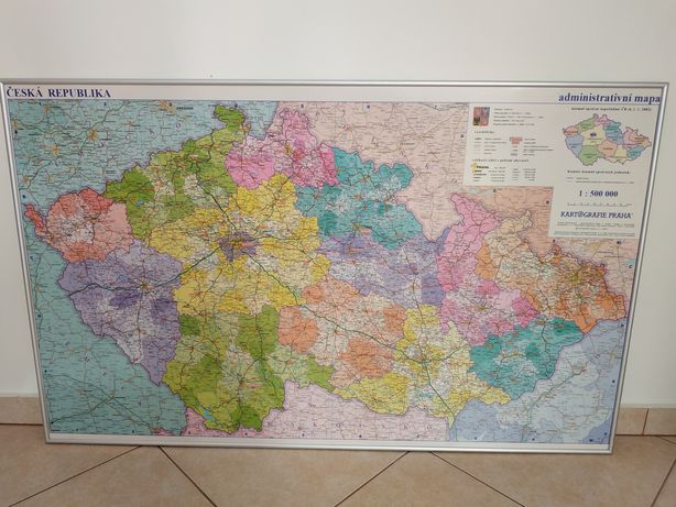 Czechy, mapa administracyjno-drogowa, ścienna, ramka aluminiowa, 110x6