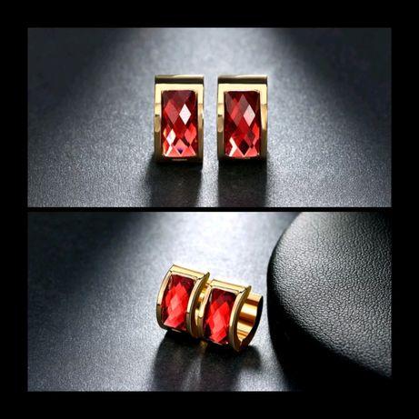 Eleganckie Złote Kolczyki RED