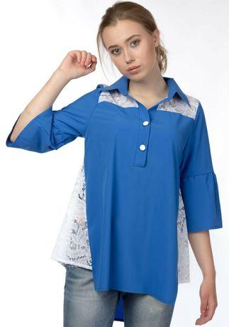 Блуза туника голубая кружево 50рр