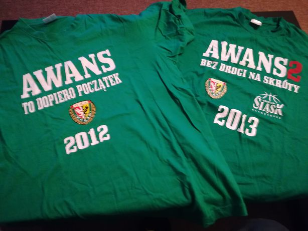 Dwie koszulki Śląsk Wrocław, basket awans 2012; 2013
